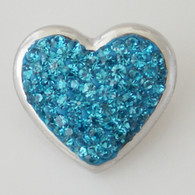TEAL CLUSTER PAVE CRYSTAL HEART