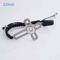 BRACELET - ELEGANT BLACK WITH CROSS