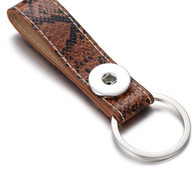 LEATHER STAINLESS STEEL KEYCHAIN - BROWN SNAKE