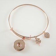 BANGLE - ONE BUTTON  (ROSE GOLD)