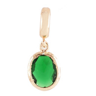 Z-CHARM GOLD EMERALD OVAL DANGLE