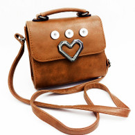 LEATHER SILVER HEART CROSSBODY BAG - BROWN