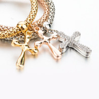 STRETCH MESH - FAITH CROSS BRACELET