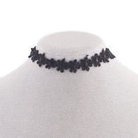 CHOKER - BLACK LACE FLOWERS