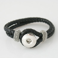 BLACK ONE BUTTON BRAIDED LEATHER BRACELET - 21 CM