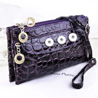 SOFT LEATHER ALLIGATOR INSPIRED BAG - VIOLET