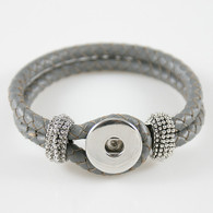 SILVER GRAY ONE BUTTOM BRAIDED LEATHER BRACELET - 21 CM