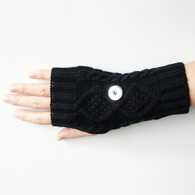 KNITTED GLOVES PAIR- BLACK