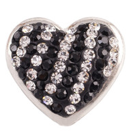 BLACK & DIAMOND CLUSTER PAVE DAZZLE  HEART
