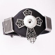 LALAKI -  CROSS LEATHER BRACELET (BLACK)