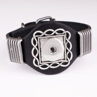 LALAKI -  SQUARE LEATHER BRACELET (BLACK)