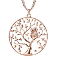 NECKLACE - TREE OF LIFE OWL (ROSE GOLD)