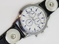 WATCH - LEATHER BLACK (3 NEEDLE-WHITE)