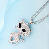 NECKLACE - GLITZY CAT (SILVER)