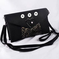 SOFT LEATHER PEARL HEART INSPIRED BAG - BLACK
