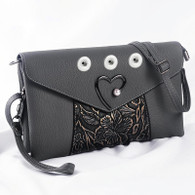 SOFT LEATHER PEARL HEART INSPIRED BAG - GRAY