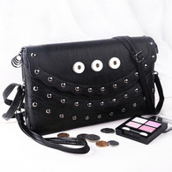 SOFT LEATHER SILVER DOTIES  INSPIRED BAG - BLACK