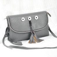 SOFT LEATHER LADY DI INSPIRED BAG - SILVER GRAY