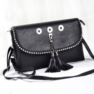 SOFT LEATHER LADY DI INSPIRED BAG - BLACK ONIX