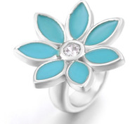 Z-CHARM SILVER TURQUOISE FLOWER