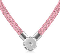 SET - LEATHER PENDANT & BRACELET (PINK)