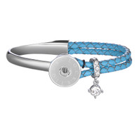 ENCHANTMENT SS & LEATHER BANGLE - TURQUOISE