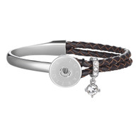 ENCHANTMENT SS & LEATHER BANGLE - CHOCOLATE
