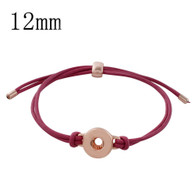 MINI LEATHER ADJUSTABLE BRACELET - (RG-CORAL RED)
