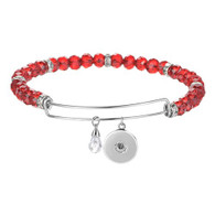 BANGLE LUXE SS - CZ STONES (RED)