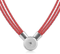 SET - LEATHER PENDANT & BRACELET (RED)