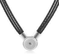 SET - LEATHER PENDANT & BRACELET (BLACK)