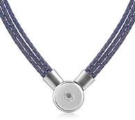 SET - LEATHER PENDANT & BRACELET (DARK BLUE)