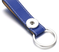 LEATHER STAINLESS STEEL KEYCHAIN - BLUE