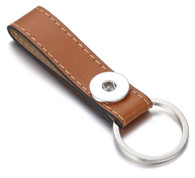 LEATHER STAINLESS STEEL KEYCHAIN - CAMEL
