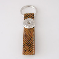 LEATHER STAINLESS STEEL KEYCHAIN - BROWN ALLIGATOR