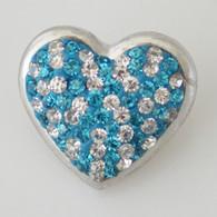 HEART - TURQ & WHITE CLUSTER DAZZLE