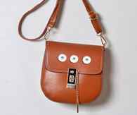 LEATHER GOLD PADLOCK BAG - BROWN