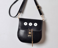 LEATHER GOLD PADLOCK BAG - BLACK