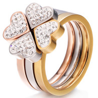 LUXE TRI-COLOR HEART RING (316L) S8