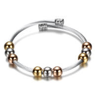 (LUXE SS) CABLE BANGLE - TRI-COLOR BEADS