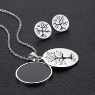 LUXE TREE OF LIFE BLACK SET (SS - SILVER)