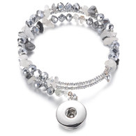 BANGLE - CZ STONES & BEADS (SILVER-GRAY)
