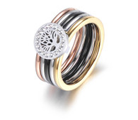 LUXE TRI-COLOR TOL RING (316L) S6