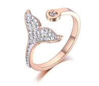 LUXE MERMAID DIAMOND TAIL RING (316L-RG) S8