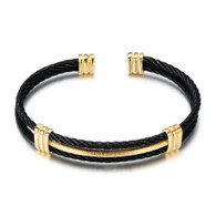 CHARMBEADS (LUXE SS) -WIRE CABLE (BLACK & GOLD)