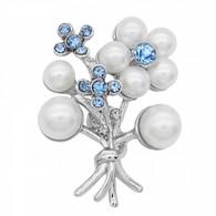FLOWER RHINESTONE PEARL - BLUE