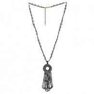 DUBAI MULTILAYERS NECKLACE - RAFIKI BEADS (GRAY&BLUE)