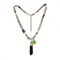 DUBAI FRINGED TASSEL NECKLACE - GERANIUM LEAF