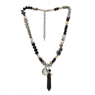 DUBAI FRINGED TASSEL NECKLACE - CHARCOAL GRAY