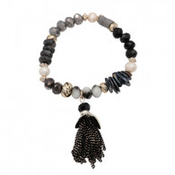 DUBAI FRINGED BRACELET - CHARCOAL GRAY